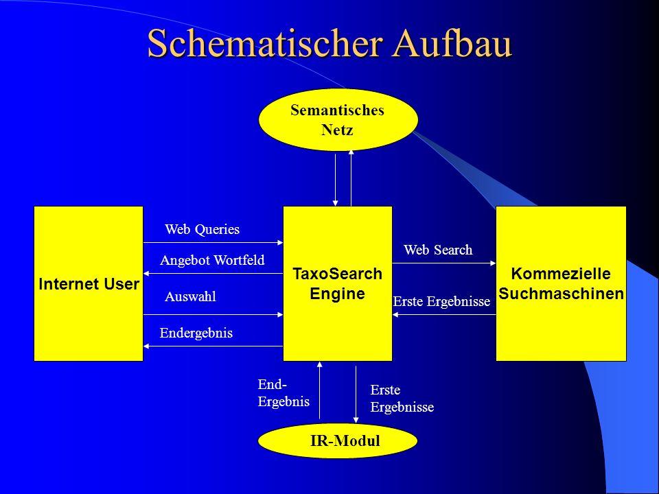 Schematischer Aufbau IR-Modul Web Queries Angebot Wortfeld Internet User Endergebnis TaxoSearch Engine Auswahl Kommezielle Suchmaschinen Web Search Er