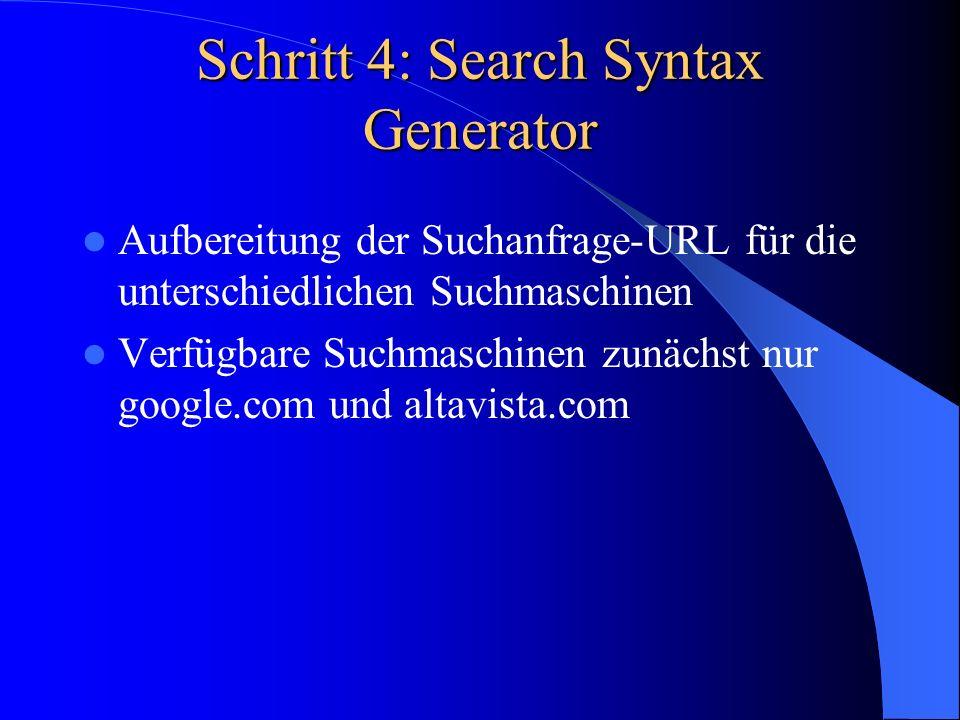 Schritt 4: Search Syntax Generator Aufbereitung der Suchanfrage-URL für die unterschiedlichen Suchmaschinen Verfügbare Suchmaschinen zunächst nur goog