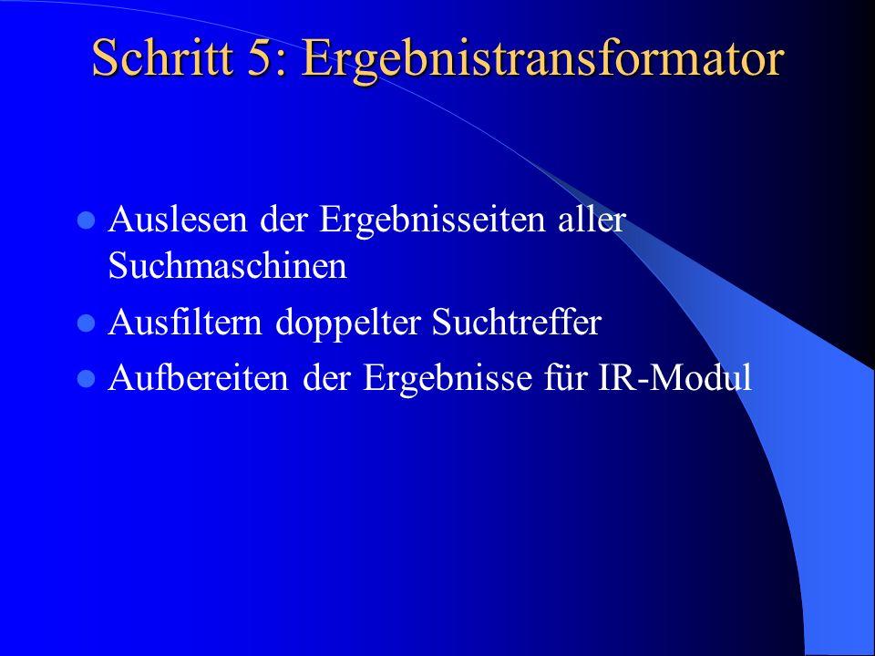Schritt 5: Ergebnistransformator Auslesen der Ergebnisseiten aller Suchmaschinen Ausfiltern doppelter Suchtreffer Aufbereiten der Ergebnisse für IR-Mo