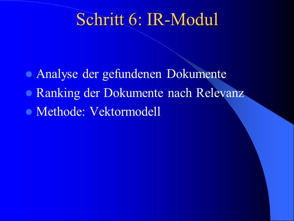 Schritt 6: IR-Modul Analyse der gefundenen Dokumente Ranking der Dokumente nach Relevanz Methode: Vektormodell