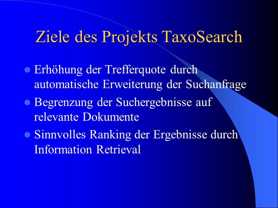 Ziele des Projekts TaxoSearch Erhöhung der Trefferquote durch automatische Erweiterung der Suchanfrage Begrenzung der Suchergebnisse auf relevante Dok