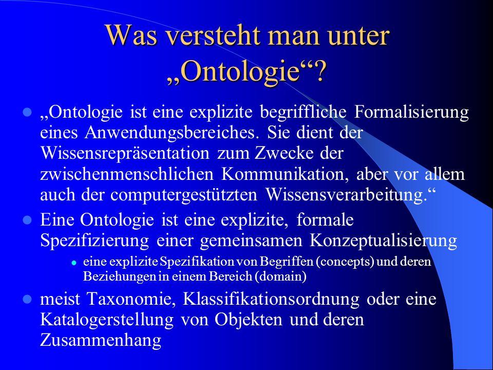 Was versteht man unter Ontologie? Ontologie ist eine explizite begriffliche Formalisierung eines Anwendungsbereiches. Sie dient der Wissensrepräsentat