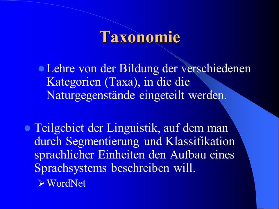 Taxonomie Lehre von der Bildung der verschiedenen Kategorien (Taxa), in die die Naturgegenstände eingeteilt werden. Teilgebiet der Linguistik, auf dem