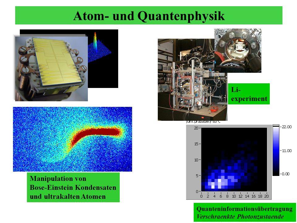 Atom- und Quantenphysik Quanteninformationsübertragung Verschraenkte Photonzustaende Li- experiment Manipulation von Bose-Einstein Kondensaten und ult