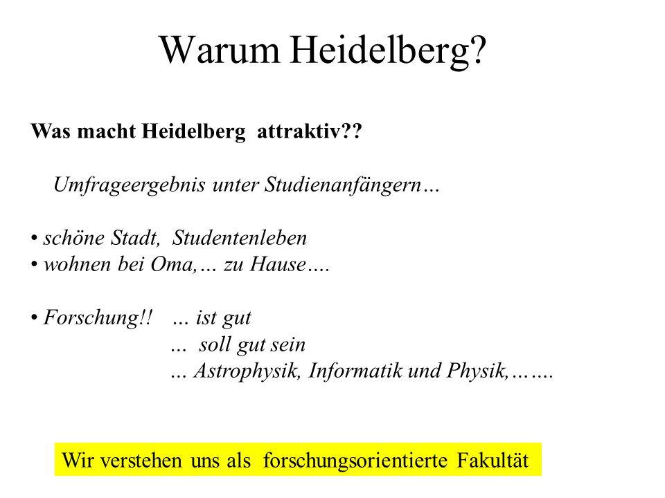 Warum Heidelberg? Was macht Heidelberg attraktiv?? Umfrageergebnis unter Studienanfängern… schöne Stadt, Studentenleben wohnen bei Oma,… zu Hause…. Fo