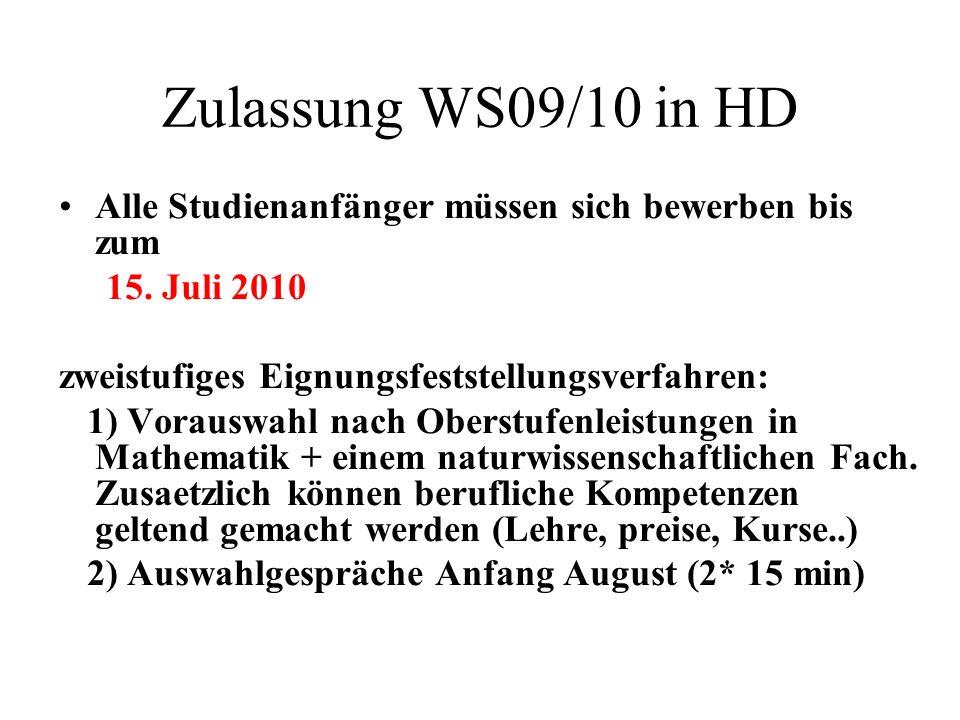Zulassung WS09/10 in HD Alle Studienanfänger müssen sich bewerben bis zum 15. Juli 2010 zweistufiges Eignungsfeststellungsverfahren: 1) Vorauswahl nac