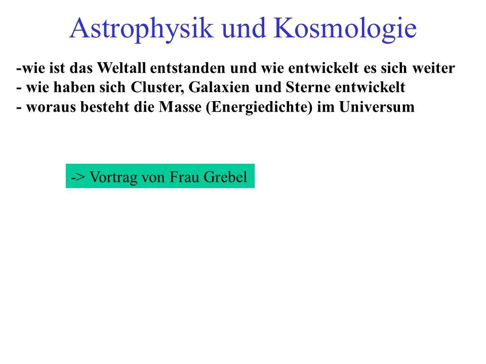 Astrophysik und Kosmologie -wie ist das Weltall entstanden und wie entwickelt es sich weiter - wie haben sich Cluster, Galaxien und Sterne entwickelt