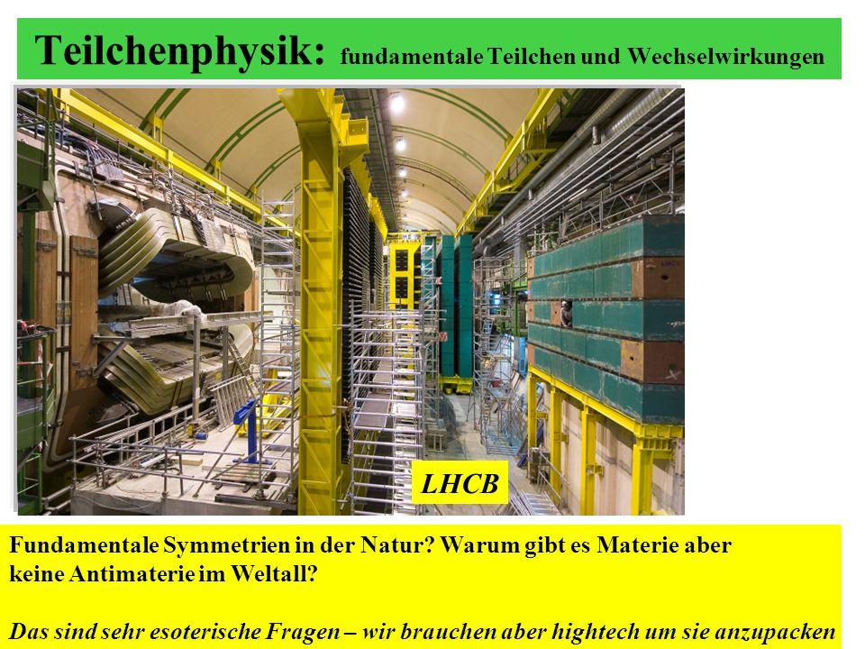 Teilchenphysik: fundamentale Teilchen und Wechselwirkungen LHCB Fundamentale Symmetrien in der Natur? Warum gibt es Materie aber keine Antimaterie im