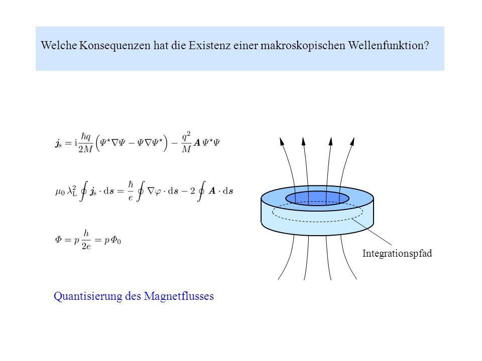 Welche Konsequenzen hat die Existenz einer makroskopischen Wellenfunktion? Integrationspfad Quantisierung des Magnetflusses