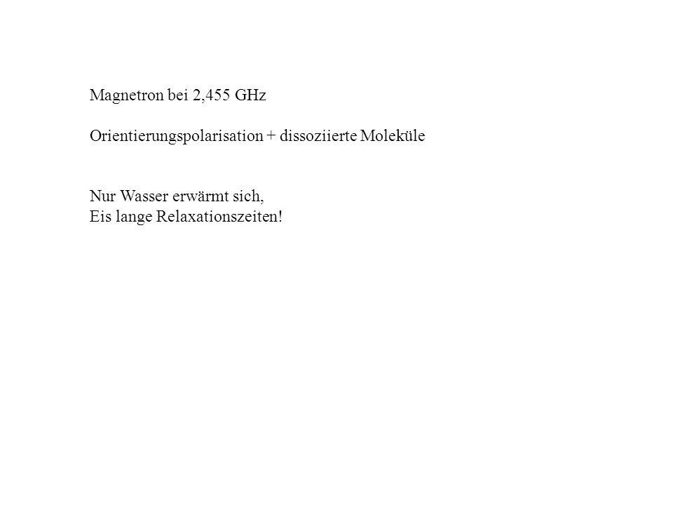 Magnetron bei 2,455 GHz Orientierungspolarisation + dissoziierte Moleküle Nur Wasser erwärmt sich, Eis lange Relaxationszeiten!