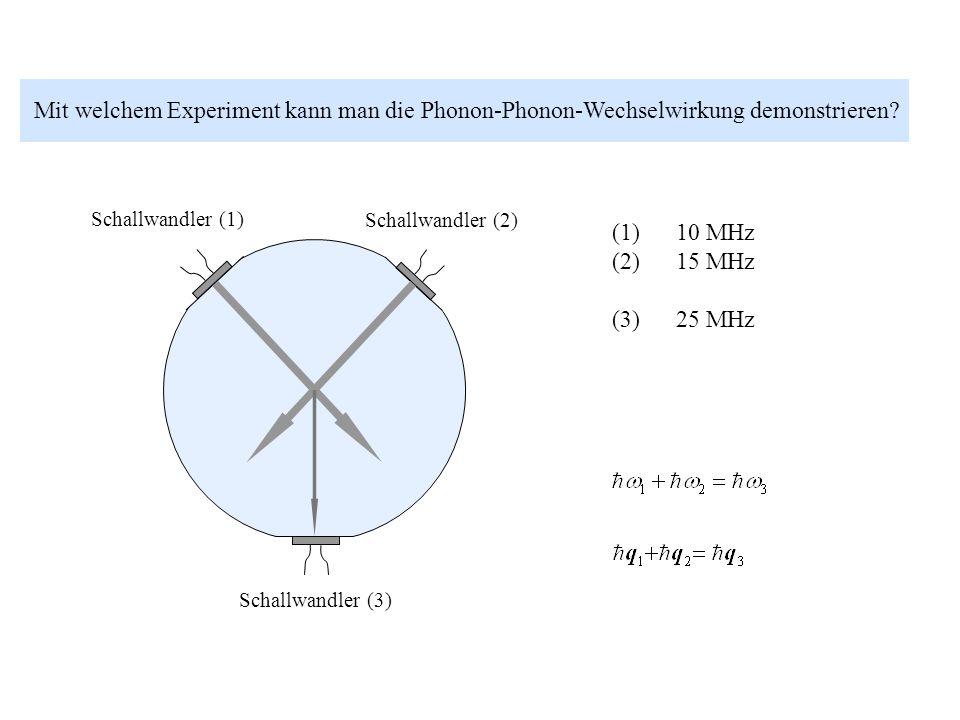 Mit welchem Experiment kann man die Phonon-Phonon-Wechselwirkung demonstrieren? Schallwandler (1) Schallwandler (2) Schallwandler (3) (1) 10 MHz (2) 1