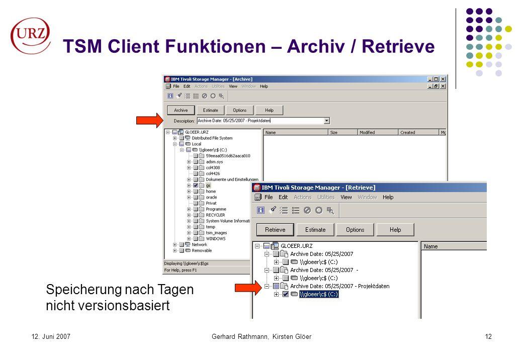 12. Juni 2007Gerhard Rathmann, Kirsten Glöer12 TSM Client Funktionen – Archiv / Retrieve Speicherung nach Tagen nicht versionsbasiert