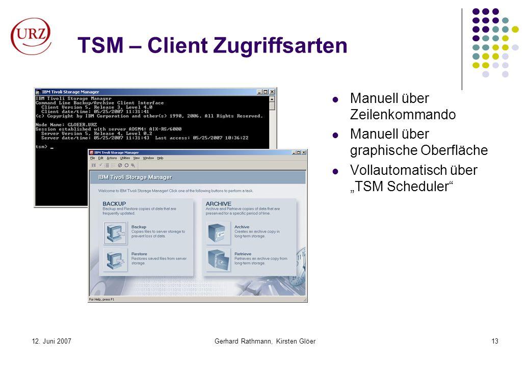 12. Juni 2007Gerhard Rathmann, Kirsten Glöer13 TSM – Client Zugriffsarten Manuell über Zeilenkommando Manuell über graphische Oberfläche Vollautomatis