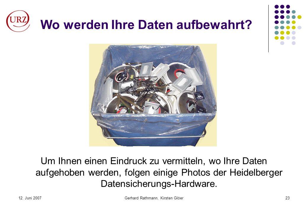 12. Juni 2007Gerhard Rathmann, Kirsten Glöer23 Wo werden Ihre Daten aufbewahrt? Um Ihnen einen Eindruck zu vermitteln, wo Ihre Daten aufgehoben werden
