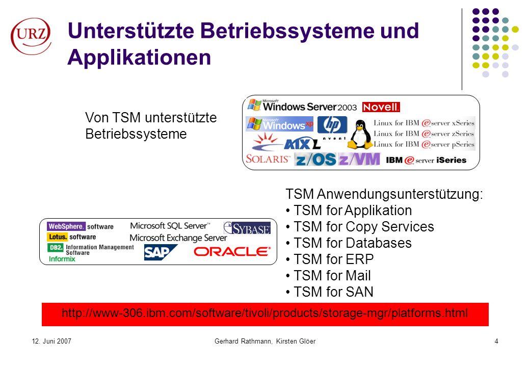 12. Juni 2007Gerhard Rathmann, Kirsten Glöer4 Unterstützte Betriebssysteme und Applikationen http://www-306.ibm.com/software/tivoli/products/storage-m