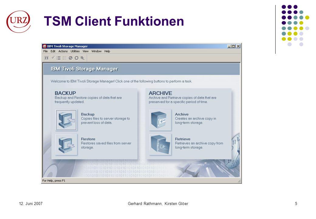 12. Juni 2007Gerhard Rathmann, Kirsten Glöer5 TSM Client Funktionen