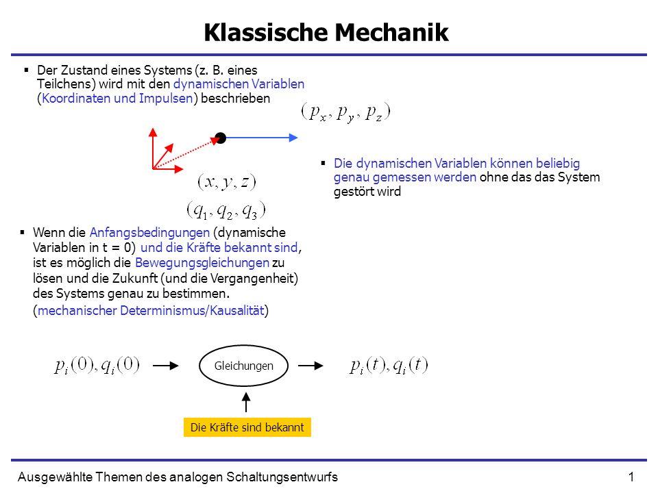 12Ausgewählte Themen des analogen Schaltungsentwurfs Poisson-Klammer Zwei Funktionen der Kanonischen Impulse und Koordinaten Eine nicht explizit Zeitabhängige Funktion F dynamischer Variablen p und q ändert Ihren Wert nicht wenn [F, H] = 0 F ist dann eine Konstante der Bewegung (Erhaltungsgröße) Gesamtenergie bleibt erhaltenImpulskomponente bleibt erhalten wenn in dieser Richtung keine Kraft wirkt