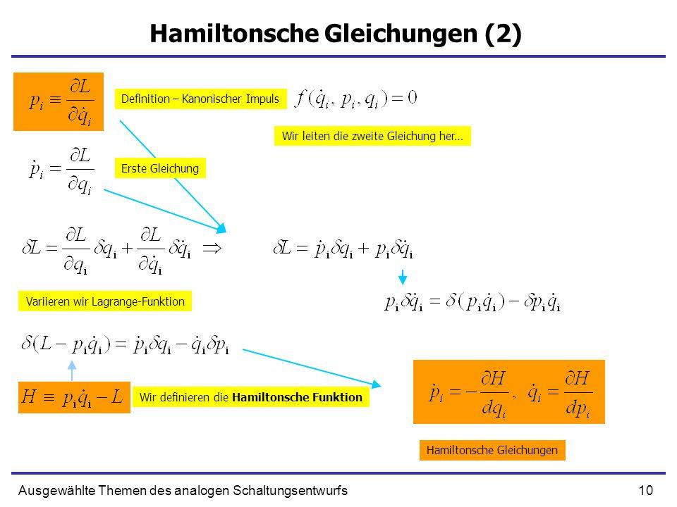 10Ausgewählte Themen des analogen Schaltungsentwurfs Hamiltonsche Gleichungen (2) Definition – Kanonischer Impuls Erste Gleichung Wir leiten die zweit
