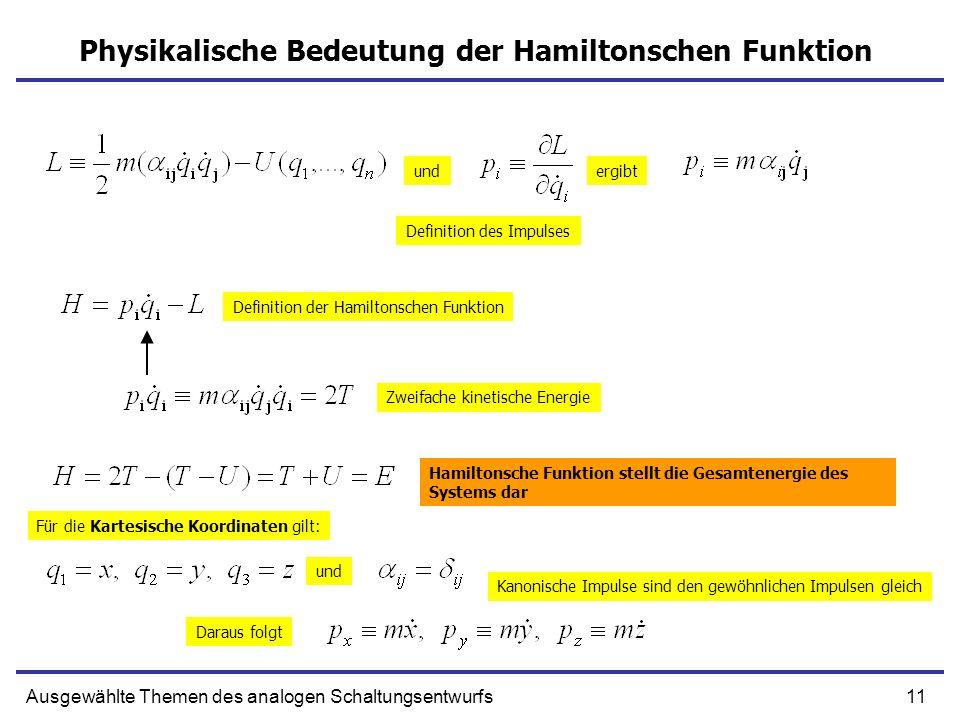 11Ausgewählte Themen des analogen Schaltungsentwurfs Physikalische Bedeutung der Hamiltonschen Funktion undergibt Definition des Impulses Definition d
