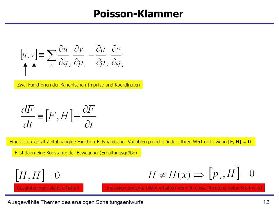 12Ausgewählte Themen des analogen Schaltungsentwurfs Poisson-Klammer Zwei Funktionen der Kanonischen Impulse und Koordinaten Eine nicht explizit Zeita