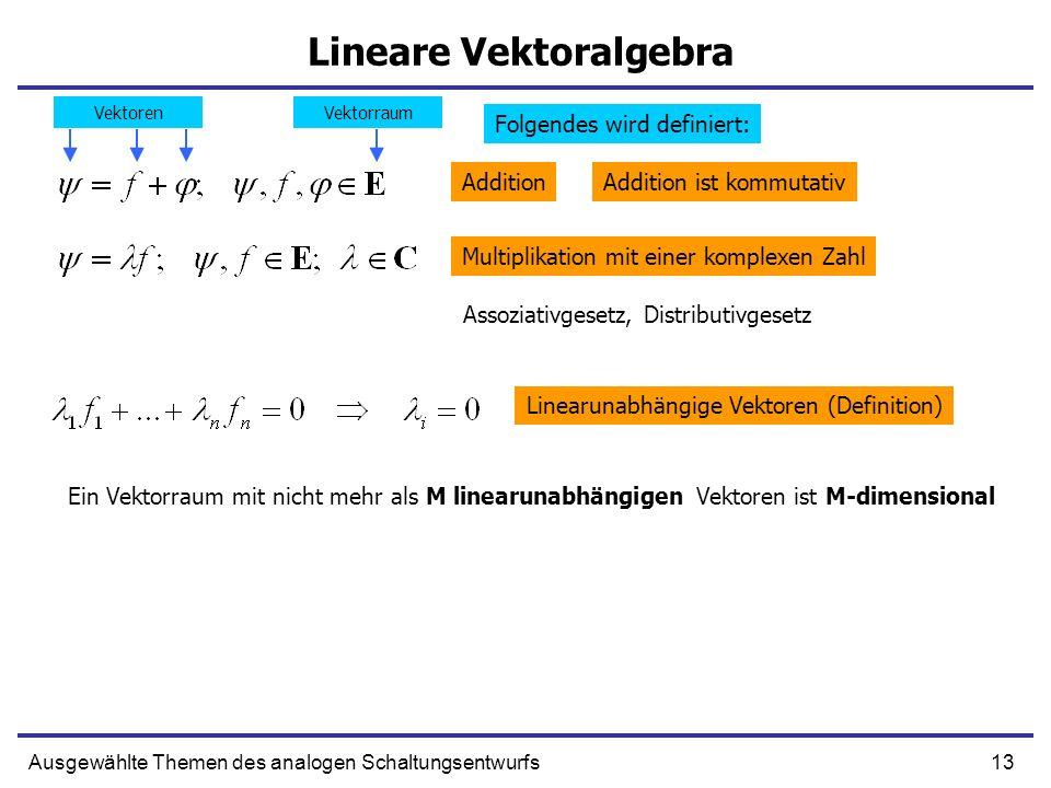 13Ausgewählte Themen des analogen Schaltungsentwurfs Lineare Vektoralgebra Addition Multiplikation mit einer komplexen Zahl Assoziativgesetz, Distribu