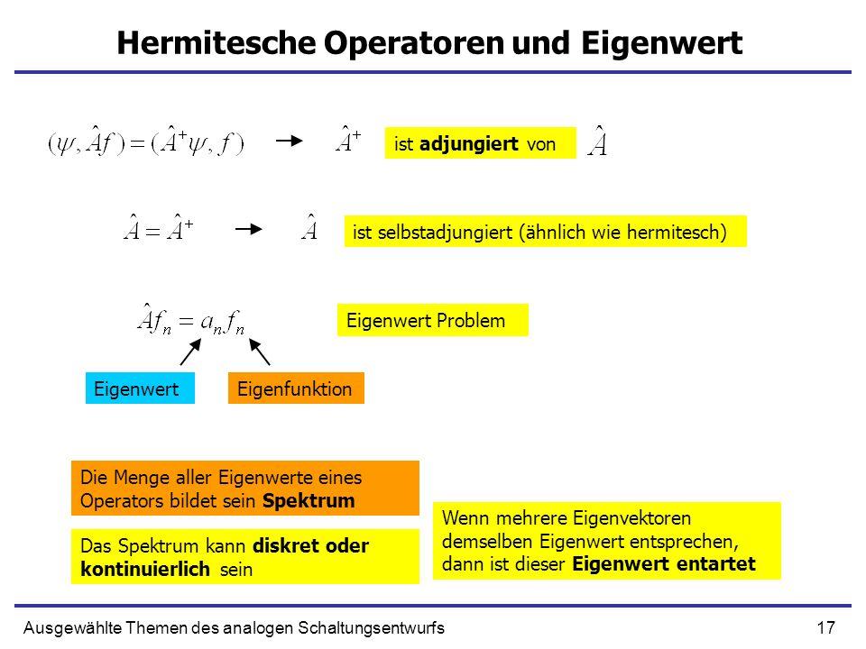17Ausgewählte Themen des analogen Schaltungsentwurfs Hermitesche Operatoren und Eigenwert ist adjungiert von ist selbstadjungiert (ähnlich wie hermite
