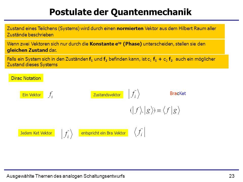 23Ausgewählte Themen des analogen Schaltungsentwurfs Postulate der Quantenmechanik Zustand eines Teilchens (Systems) wird durch einen normierten Vekto