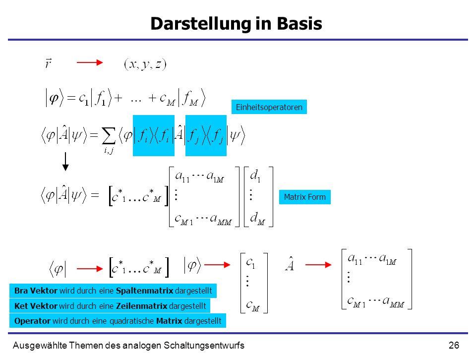 26Ausgewählte Themen des analogen Schaltungsentwurfs Darstellung in Basis Einheitsoperatoren Matrix Form Bra Vektor wird durch eine Spaltenmatrix darg