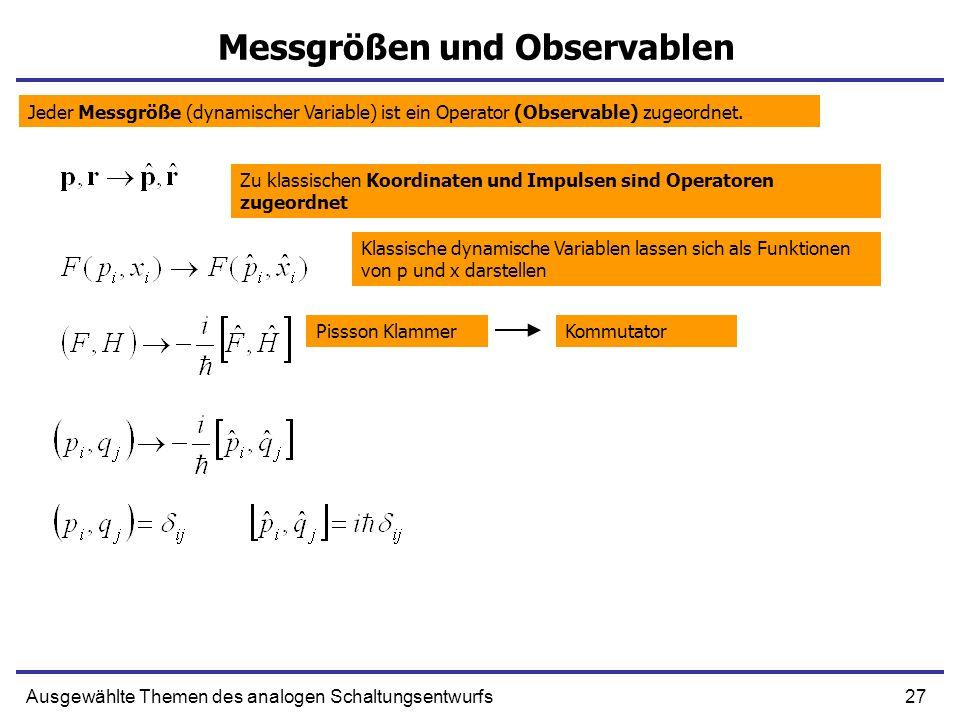 27Ausgewählte Themen des analogen Schaltungsentwurfs Messgrößen und Observablen Jeder Messgröße (dynamischer Variable) ist ein Operator (Observable) z