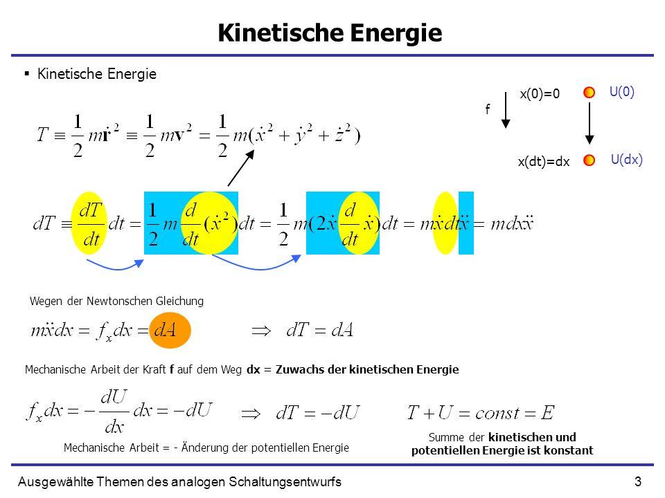 3Ausgewählte Themen des analogen Schaltungsentwurfs Kinetische Energie U(0) Wegen der Newtonschen Gleichung Mechanische Arbeit der Kraft f auf dem Weg