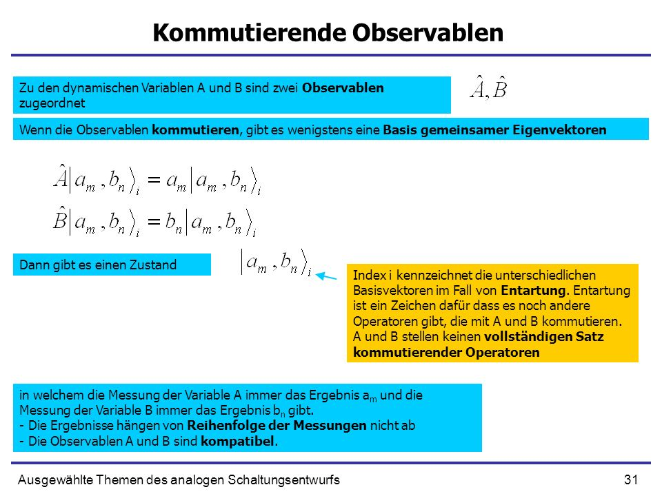 31Ausgewählte Themen des analogen Schaltungsentwurfs Kommutierende Observablen Zu den dynamischen Variablen A und B sind zwei Observablen zugeordnet W