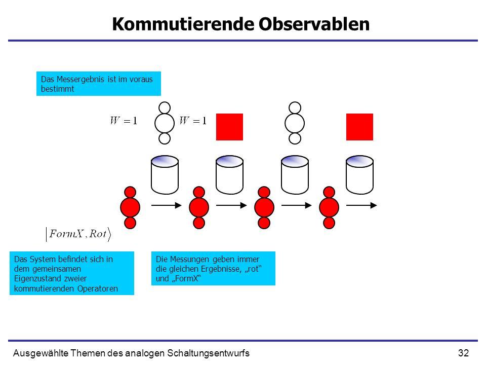 32Ausgewählte Themen des analogen Schaltungsentwurfs Kommutierende Observablen Das System befindet sich in dem gemeinsamen Eigenzustand zweier kommuti