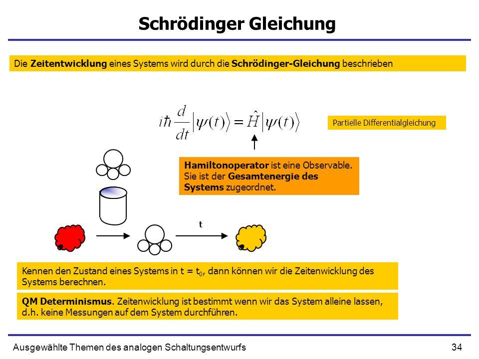 34Ausgewählte Themen des analogen Schaltungsentwurfs Schrödinger Gleichung Die Zeitentwicklung eines Systems wird durch die Schrödinger-Gleichung besc