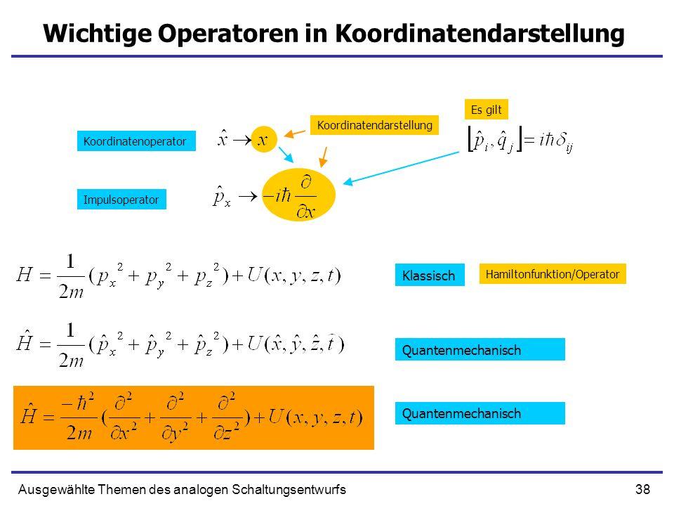 38Ausgewählte Themen des analogen Schaltungsentwurfs Wichtige Operatoren in Koordinatendarstellung Klassisch Quantenmechanisch Koordinatenoperator Imp