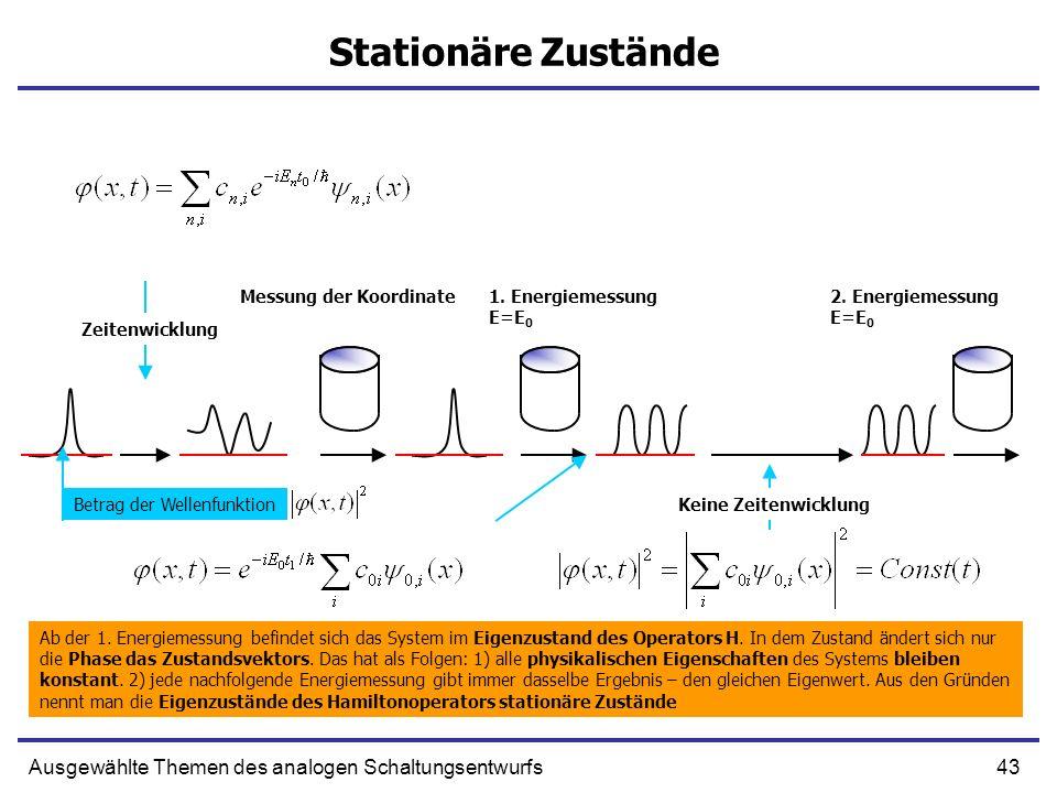43Ausgewählte Themen des analogen Schaltungsentwurfs Stationäre Zustände Messung der Koordinate1. Energiemessung E=E 0 2. Energiemessung E=E 0 Ab der
