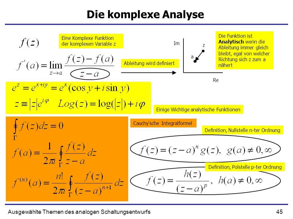 45Ausgewählte Themen des analogen Schaltungsentwurfs Die komplexe Analyse a z Eine Komplexe Funktion der komplexen Variable z Ableitung wird definiert