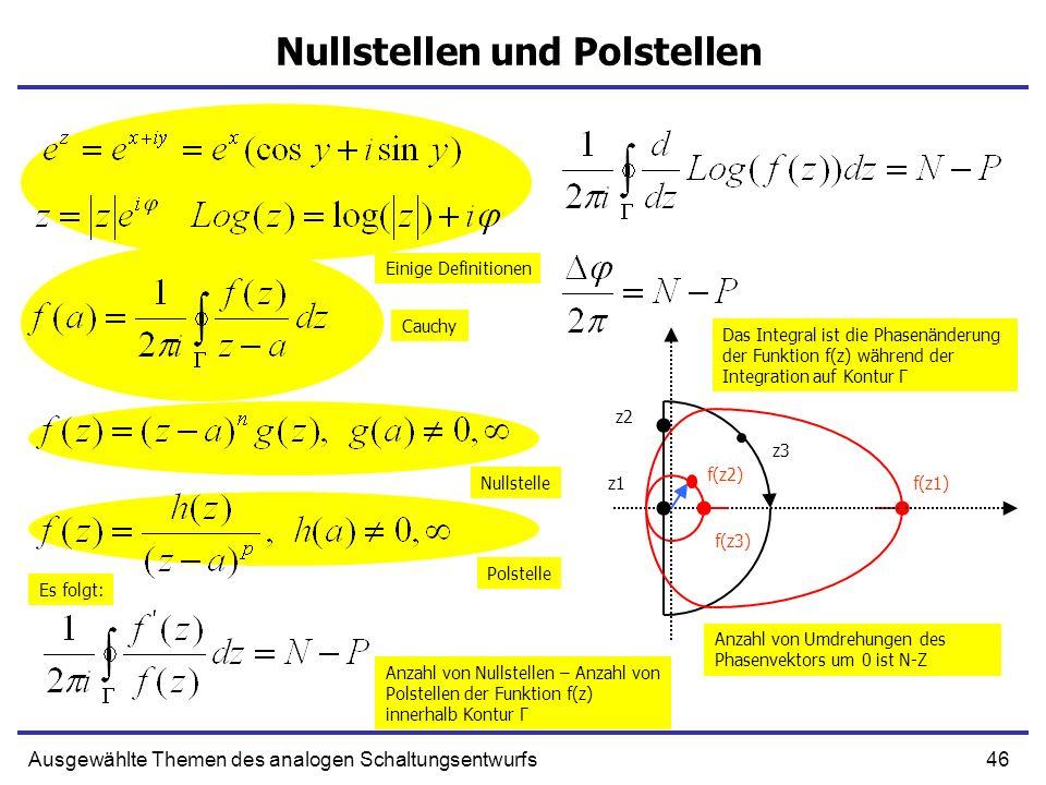 46Ausgewählte Themen des analogen Schaltungsentwurfs Nullstellen und Polstellen z1f(z1) z2 f(z2) z3 f(z3) Cauchy Einige Definitionen Nullstelle Polste