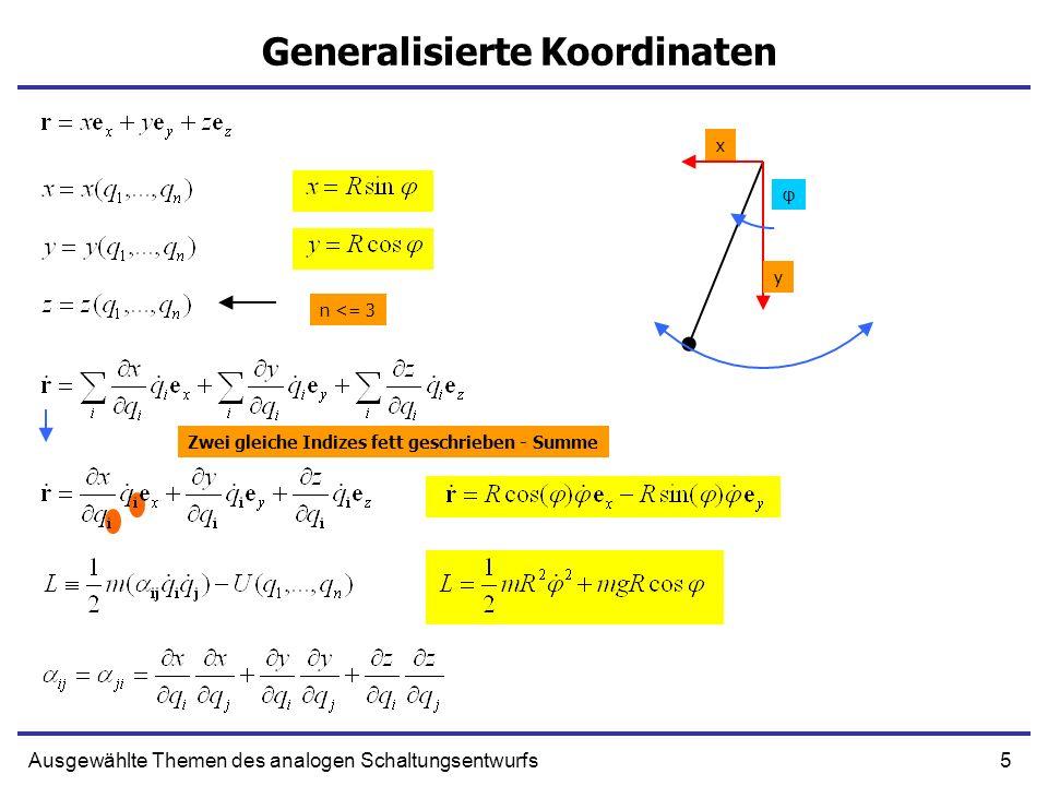 6Ausgewählte Themen des analogen Schaltungsentwurfs Wirkungsintegral und Hamiltonsches Prinzip f x(t 0 ) = x 0 x(0)=0 t0t0 x0x0 Wirkungsintegral Der eigentliche Weg Der Wirkungsintegral hat einen Extremwert wenn q dem eigentlichen Weg gleich ist Beliebige Zeitfunktion Jede kleine Variation des q(t) ergibt in erster Ordnung δw = 0.