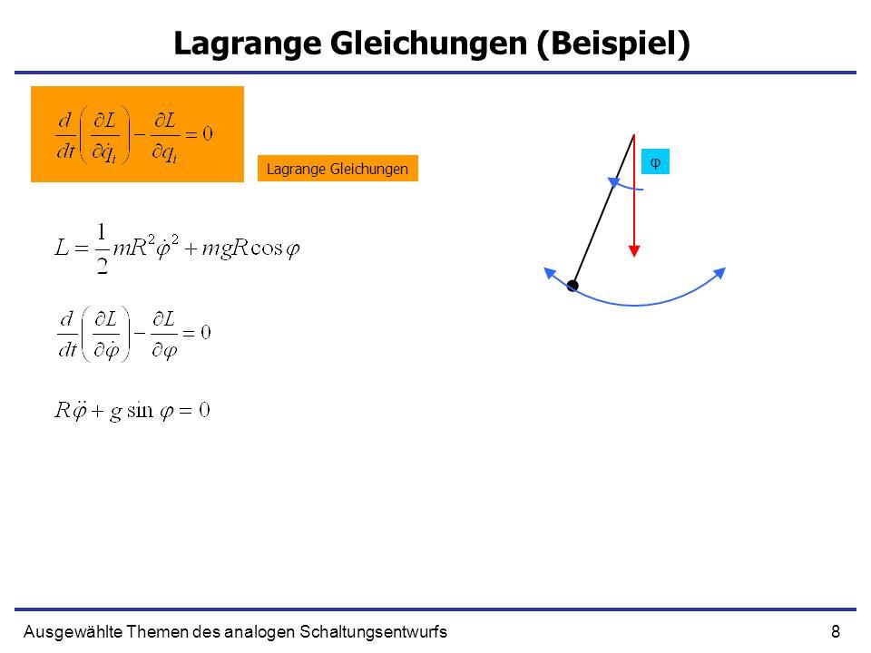 9Ausgewählte Themen des analogen Schaltungsentwurfs Hamiltonsche Gleichungen Lagrange-Gleichung - differentialgleichung zweiter Ordnung Wir versuchen aus LG zwei Gleichungen erster Ordnung herzuleiten… Kanonischer Impuls wird definiert Es ist möglich die Lagrange Funktion als Funktion von Impulsen und Koordinaten darzustellen Hat die FormEs fehlt noch…