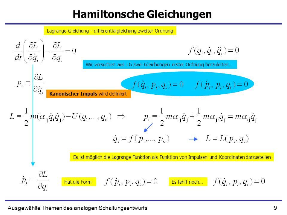 10Ausgewählte Themen des analogen Schaltungsentwurfs Hamiltonsche Gleichungen (2) Definition – Kanonischer Impuls Erste Gleichung Wir leiten die zweite Gleichung her… Variieren wir Lagrange-Funktion Wir definieren die Hamiltonsche Funktion Hamiltonsche Gleichungen