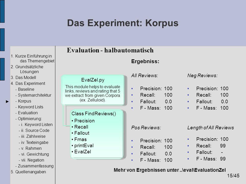 15/45 1. Kurze Einführung in das Themengebiet 2. Grundsätzliche Lösungen 3. Das Modell 4. Das Experiment - Baseline - Systemarchitektur - Korpus - Key