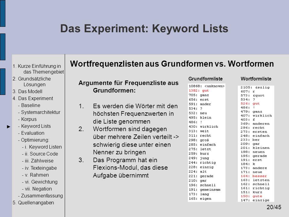 20/45 1. Kurze Einführung in das Themengebiet 2. Grundsätzliche Lösungen 3. Das Modell 4. Das Experiment - Baseline - Systemarchitektur - Korpus - Key