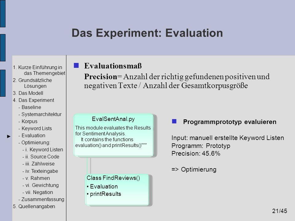 21/45 1. Kurze Einführung in das Themengebiet 2. Grundsätzliche Lösungen 3. Das Modell 4. Das Experiment - Baseline - Systemarchitektur - Korpus - Key