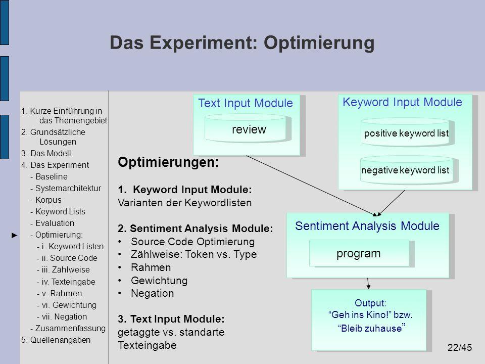 22/45 1. Kurze Einführung in das Themengebiet 2. Grundsätzliche Lösungen 3. Das Modell 4. Das Experiment - Baseline - Systemarchitektur - Korpus - Key