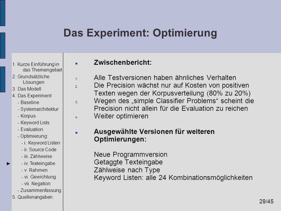 29/45 1. Kurze Einführung in das Themengebiet 2. Grundsätzliche Lösungen 3. Das Modell 4. Das Experiment - Baseline - Systemarchitektur - Korpus - Key