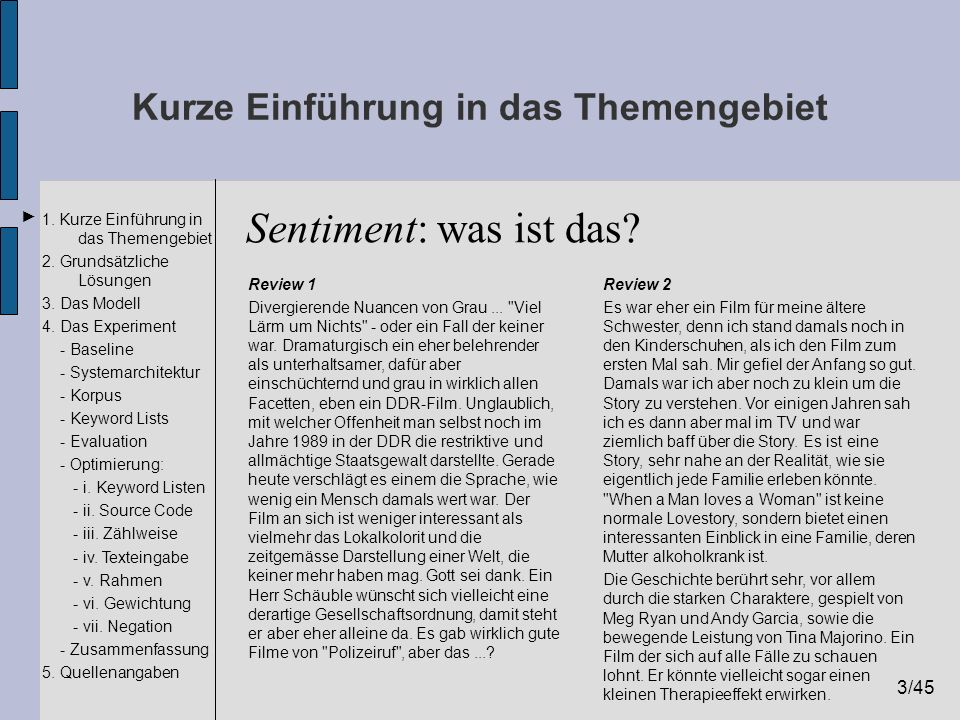 3/45 1. Kurze Einführung in das Themengebiet 2. Grundsätzliche Lösungen 3. Das Modell 4. Das Experiment - Baseline - Systemarchitektur - Korpus - Keyw