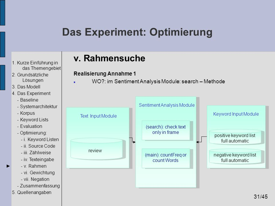 31/45 1. Kurze Einführung in das Themengebiet 2. Grundsätzliche Lösungen 3. Das Modell 4. Das Experiment - Baseline - Systemarchitektur - Korpus - Key