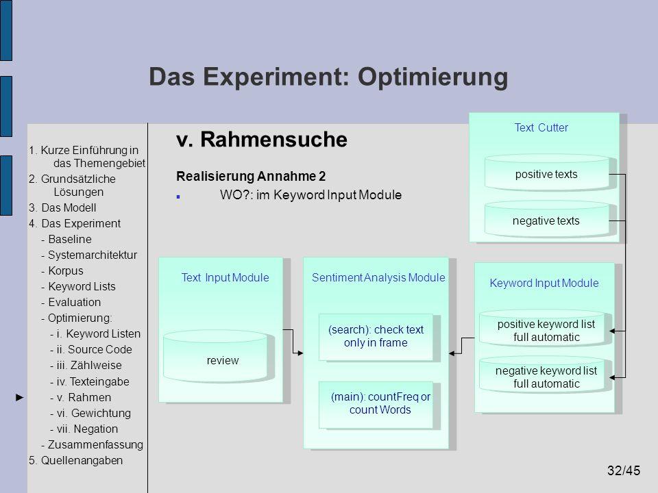 32/45 1. Kurze Einführung in das Themengebiet 2. Grundsätzliche Lösungen 3. Das Modell 4. Das Experiment - Baseline - Systemarchitektur - Korpus - Key