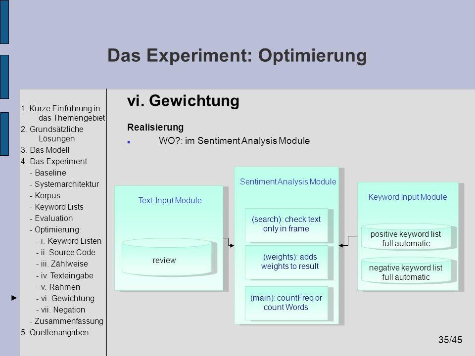 35/45 1. Kurze Einführung in das Themengebiet 2. Grundsätzliche Lösungen 3. Das Modell 4. Das Experiment - Baseline - Systemarchitektur - Korpus - Key