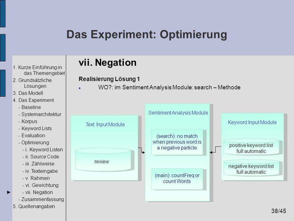 38/45 1. Kurze Einführung in das Themengebiet 2. Grundsätzliche Lösungen 3. Das Modell 4. Das Experiment - Baseline - Systemarchitektur - Korpus - Key